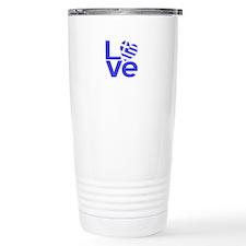 Blue Greek LOVE Ceramic Travel Mug