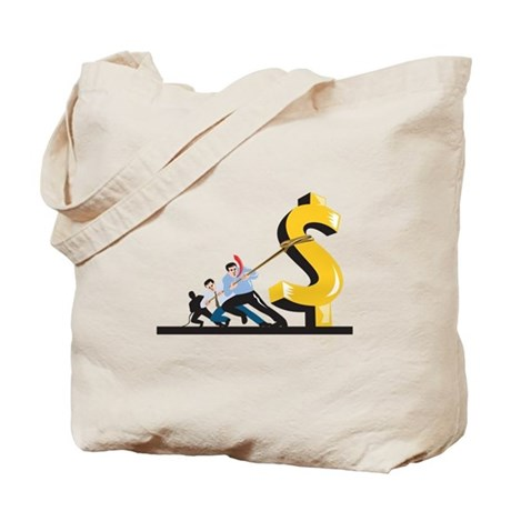 Office Workers Pulling Down Dollar Tote Bag