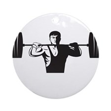 Weightlifter Lifting Weights Retro Ornament (Round