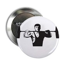 """Weightlifter Lifting Weights Retro 2.25"""" Button (1"""