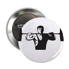 """Weightlifter Lifting Weights Retro 2.25"""" Button"""