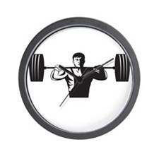 Weightlifter Lifting Weights Retro Wall Clock