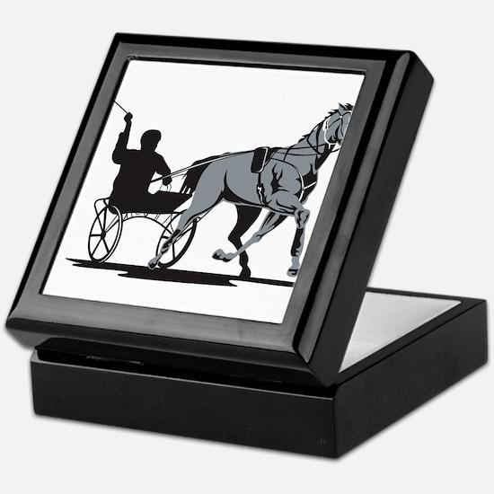Horse and Jockey Harness Racing Keepsake Box