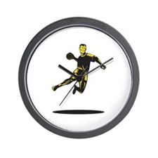 Handball Player Jumping Retro Wall Clock