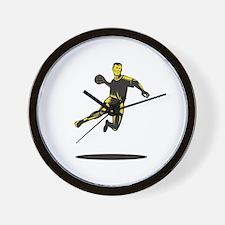 Handball Player Jumping Retro Wall Clock