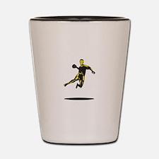 Handball Player Jumping Retro Shot Glass
