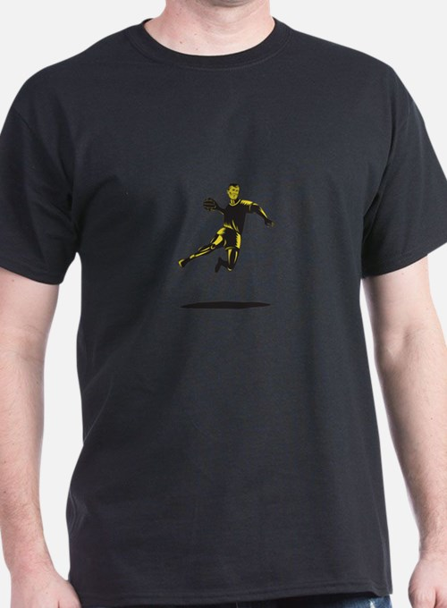 Handball Player Jumping Retro T-Shirt