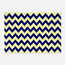 Yellow & Navy Chevron 5'x7'Area Rug