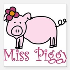 "Miss Piggy Square Car Magnet 3"" x 3"""