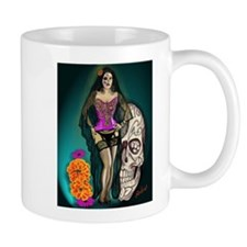 Latina Muertos Pin-up in Long Black Veil Mug