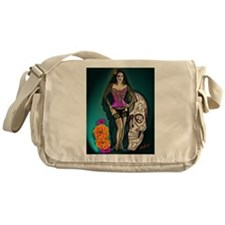 Latina Muertos Pin-up in Long Black Veil Messenger