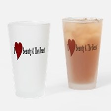Beauty and The Beast Heart Design Drinking Glass