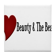 Beauty and The Beast Heart Design Tile Coaster
