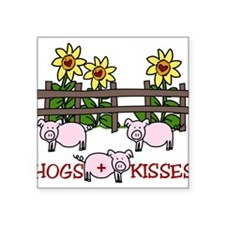 "Hogs + Kisses Square Sticker 3"" x 3"""