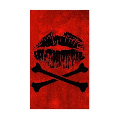 Kiss And Crossbones Sticker (Rectangle)