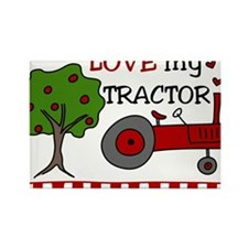 Love My Tractor Rectangle Magnet