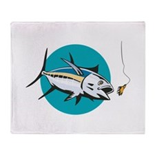 Albacore Tuna Fish Retro Throw Blanket