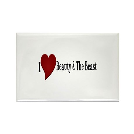 Beauty and The Beast Heart Rectangle Magnet