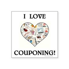 """I LOVE COUPONING! Square Sticker 3"""" x 3"""""""