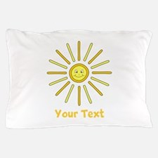 Happy Summer Sun and Text. Pillow Case