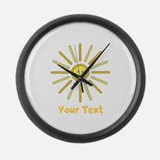 Happy Summer Sun and Text. Large Wall Clock