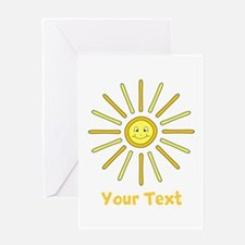 Happy Summer Sun and Text. Greeting Card