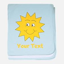 Yellow Happy Sunshine. Text. baby blanket