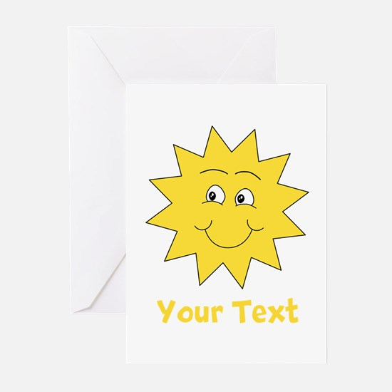 Yellow Happy Sunshine. Text. Greeting Cards (Pk of