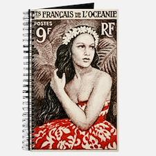 1955 French Polynesia Bora Bora Girl Postage Stamp