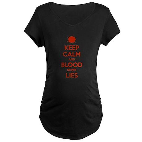 calmDexterLies3A.png Maternity Dark T-Shirt