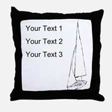 Sail Boat and Custom Text. Throw Pillow