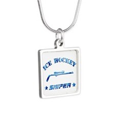 Ice Hockey Sniper (blue camo) Silver Square Neckla