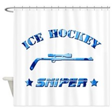 Ice Hockey Sniper (blue camo) Shower Curtain
