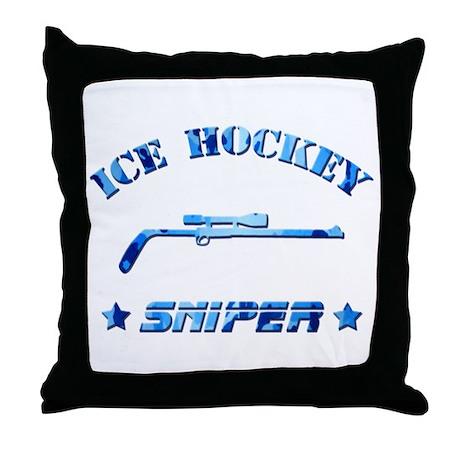 Ice Hockey Sniper (blue camo) Throw Pillow