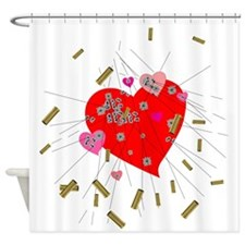 Bullet Heart Shower Curtain