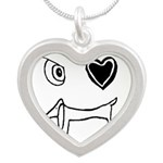 Dachshund Stick Figures Silver Heart Necklace
