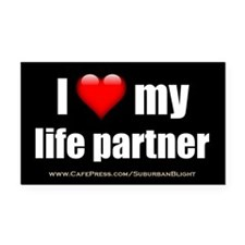 """Love My Life Partner"" Rectangle Car Magnet"