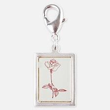 Long Stem Rose Silver Portrait Charm