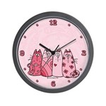 Girlie Girl Kitties Wall Clock