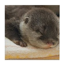 Sleeping Otter Tile Coaster