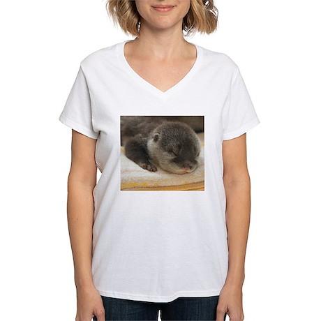 Sleeping Otter Women's V-Neck T-Shirt