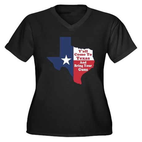 Yall Come to Texas Women's Plus Size V-Neck Dark T