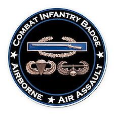 CIB Airborne Air Assault Round Car Magnet