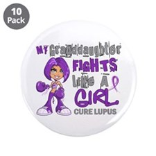 "Fights Like a Girl 42.9 Lupus 3.5"" Button (10 pack"
