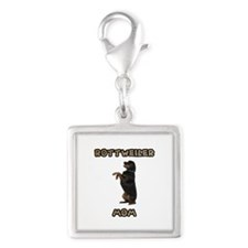 Rottweiler Mom Silver Square Charm