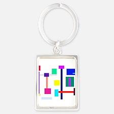 Colorful Squares Portrait Keychain
