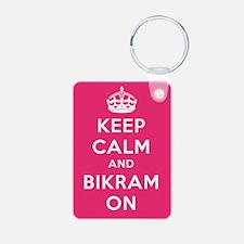 Keep Calm and Bikram On Keychains
