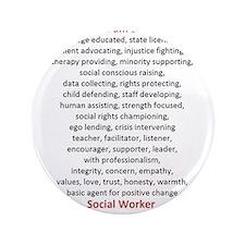 """I am a Social Worker 3.5"""" Button"""
