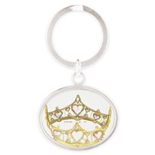 Queen of Hearts crown tiara Oval Keychain