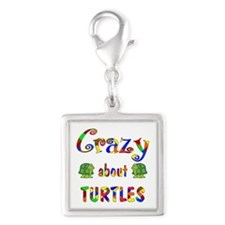 Crazy About Turtles Silver Square Charm